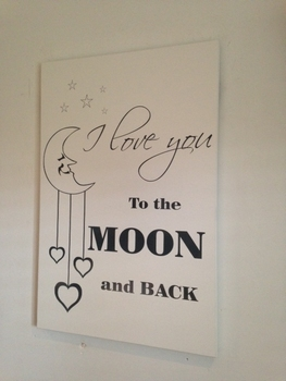 """Tekstbord """"I love to the moon and back"""""""