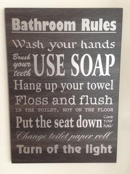 "Tekstbord ""Bathroom Rules"""