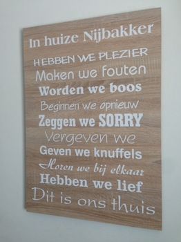 "Tekstbord ""In huize ......"""
