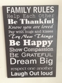 "Tekstbord ""Family Rules"""