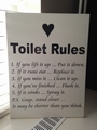 "Tekstbord ""Toilet rules"""